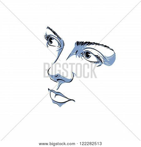 Facial expression hand-drawn illustration of face of romantic pensive girl with positive emotional expressions. Beautiful features of lady visage peaceful personality.
