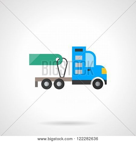 Truck tractor for sale flat color vector icon