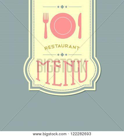 Restaurant menu cover template in retro style