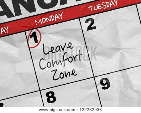 Concept image of a Calendar with the text: Leave Comfort Zone