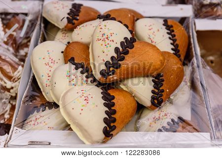 Vilnius, Lithuania - March 5: Beautiful cookies in the shape of a heart at the trade fair of kazukas, in March 5, 2016, in Vilnius, Lithuania.