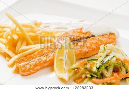 grilled salmon with french fries