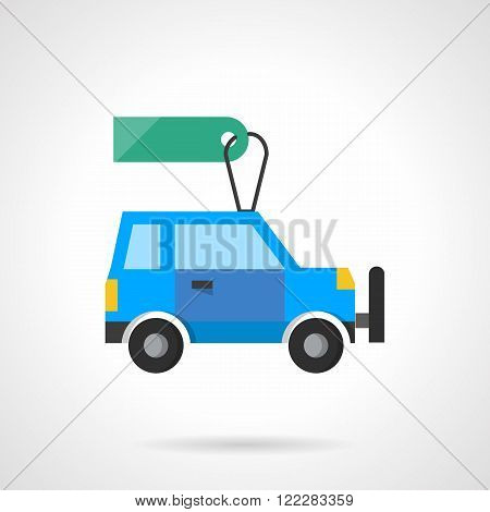 Flat design auto with tag vector icon