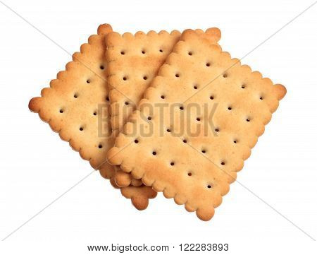 Three crackers isolated on a white background