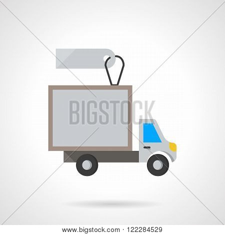 Van for rent flat color vector icon