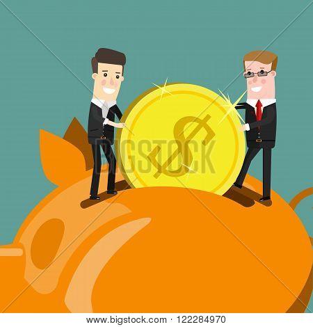 Businessman putting coin into piggy bank. Flat design business concept illustration
