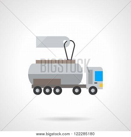 Liquid transportation cost flat color vector icon
