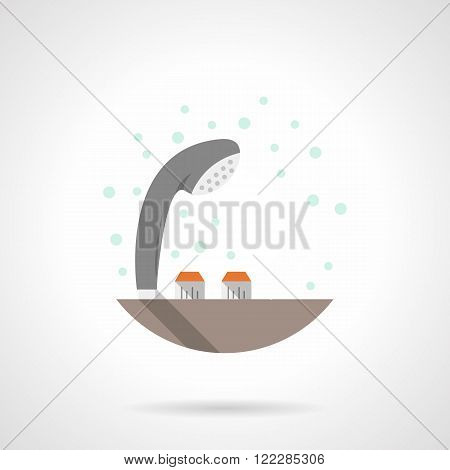 Gray shower head flat color vector icon
