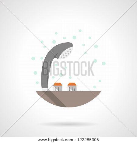 Gray shower head flat color vector icon
