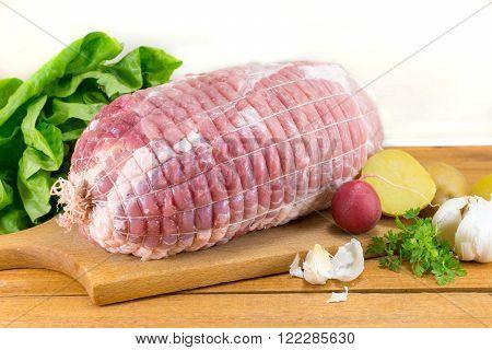 Raw Meat In A Net