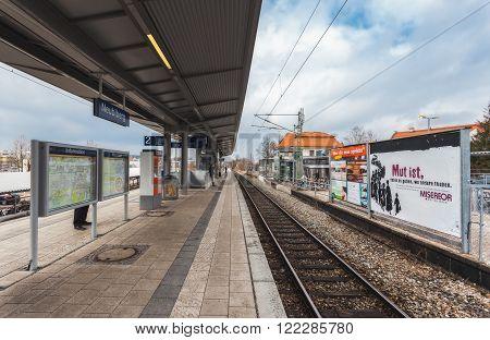 Germany, Munich - MAR 12 : Metro Station Neubiberg on March 12, 2012 in Munich, Germany.