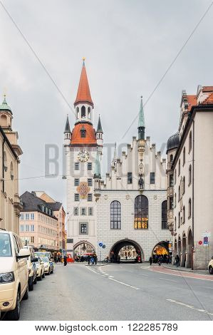 Germany, Munich - MAR 12 : Old Town Hall on March 12, 2012 in Munich, Germany.
