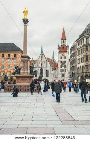 Germany, Munich - MAR 12 : Marienplatz. Mariinsky column on March 12, 2012 in Munich, Germany.