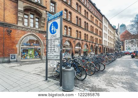 Germany, Munich - MAR 12 : Diener Strasse on March 12, 2012 in Munich, Germany.