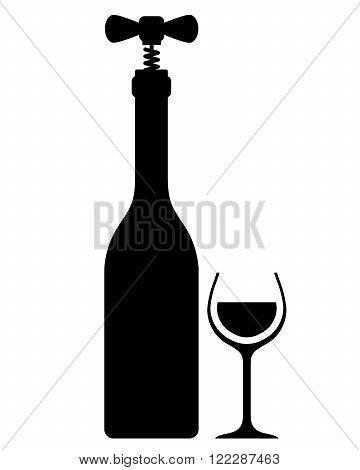 Wine bottle with corkscrew - vintage wine sampling