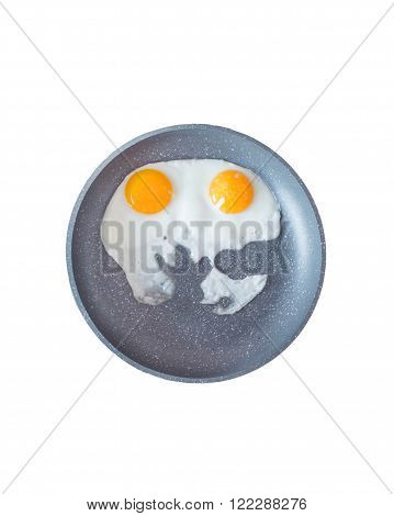 Two fried eggs in a pan close-up. Scrambled eggs