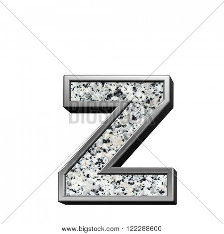 One lower case letter from granite with silver frame alphabet set isolated over white. Computer generated 3D photo rendering.