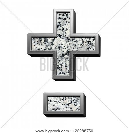 Hyphen, minus, plus marks from granite with silver frame alphabet set isolated over white. Computer generated 3D photo rendering.