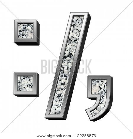 Colon, semicolon, period, comma from granite with silver frame alphabet set isolated over white. Computer generated 3D photo rendering.