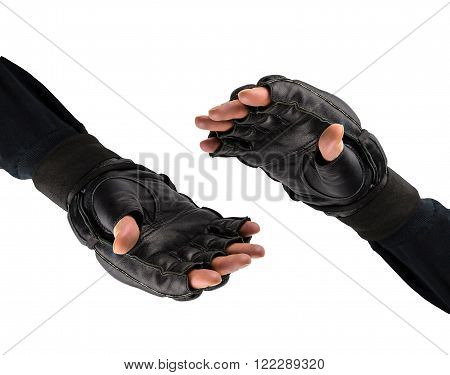 shaking hands in gloves for martial arts. Battle logo. fighter's hand in gloves .