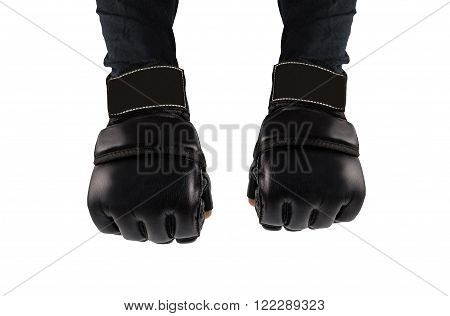 hands clenched into fists fighter. hands in gloves for martial arts. places to combat the logo.