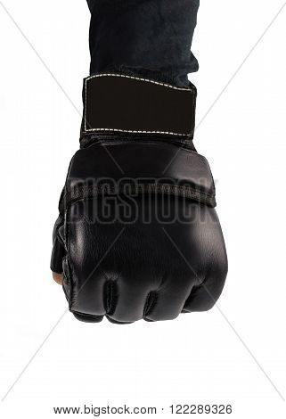 hand clenched into fists fighter. hand in glove for martial arts. places to combat the logo.