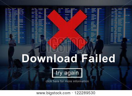 Download Failed Data Error Incomplete Load Concept