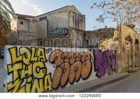 Nicosia Cyprus - 26 February 2016: Street Art and Derelct Buildings in the Old Nicosia city centre. The old city of Nicosia within the Venetian Walls is a perfect place to walk in back alleys and abandoned areas in search of street art.