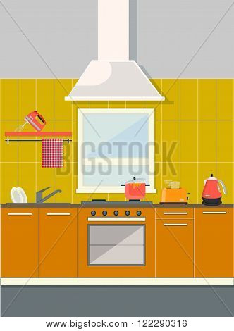 flat kitchen with an oven, a toaster, a kettle and a mixer, towel, view of the kitchen sets and window, yellow and orange colors, vector background, vector illustration