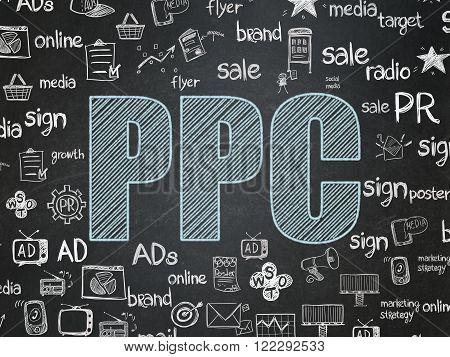Marketing concept: PPC on School Board background