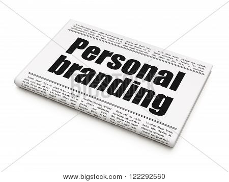 Marketing concept: newspaper headline Personal Branding