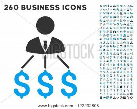 Businessman Expenses icon within 260 vector business pictogram set. Style is bicolor flat symbols, light blue and gray colors, white background.