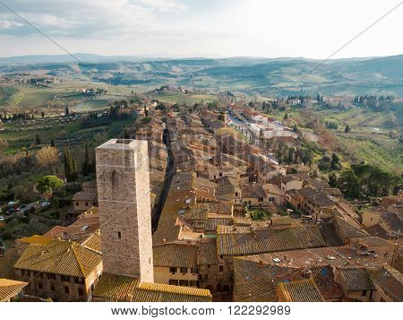 View of San Gimignano from a tower in Tuscany Italy