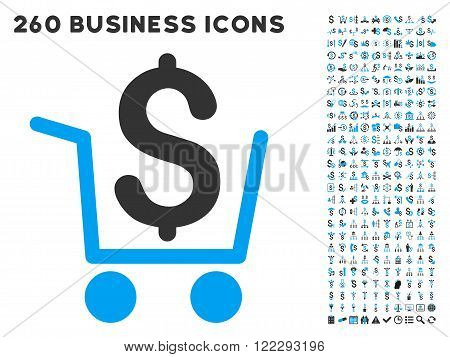 Cash Out icon within 260 vector business pictogram set. Style is bicolor flat symbols, light blue and gray colors, white background.