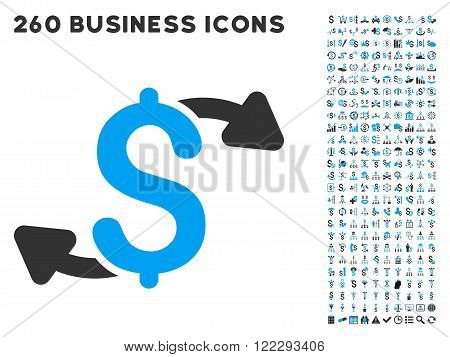 Cash Outs icon within 260 vector business pictogram set. Style is bicolor flat symbols, light blue and gray colors, white background.