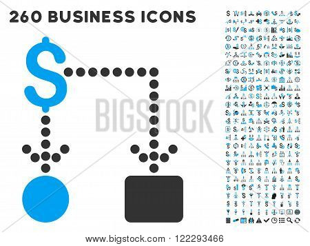 Cashflow icon within 260 vector business pictogram set. Style is bicolor flat symbols, light blue and gray colors, white background.