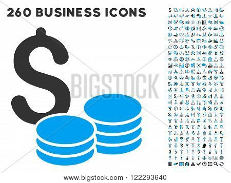Coins Money icon within 260 vector business pictogram set. Style is bicolor flat symbols, light blue and gray colors, white background.