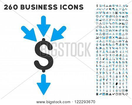 Combine Payments icon within 260 vector business pictogram set. Style is bicolor flat symbols, light blue and gray colors, white background.