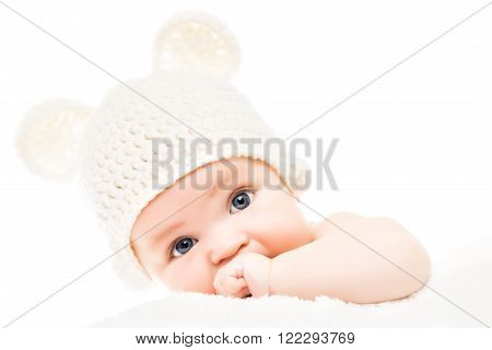 Close up headshot of a caucasian baby boy