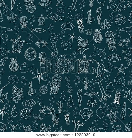Vector seamless pattern of sea life, fishes, jellyfish, corals,  seashells and sea plants. Vector illustration. Tropical fish. Use for wallpaper, pattern fills, web page background