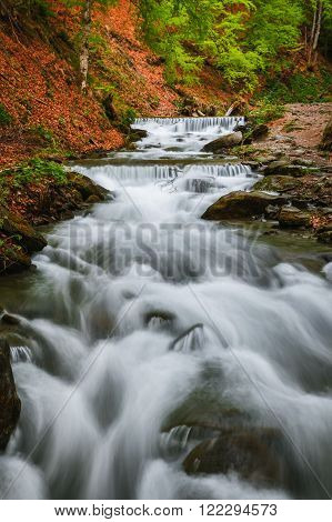 Carpathian Mountains. The mountain river near the waterfall Shipot