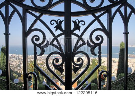 HAIFA ISRAEL - MARCH 01 2016: Eagle Fence in the Bahai gardens on Mount Carmel