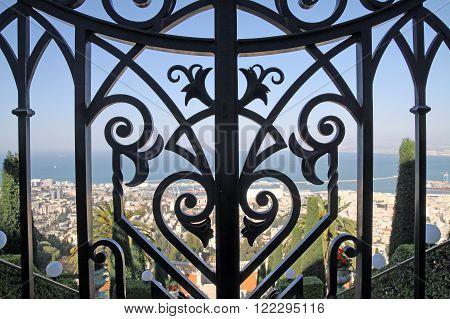 HAIFA ISRAEL - MARCH 01 2016: Eagle Fence in the Bahai gardens on Mount Carmel