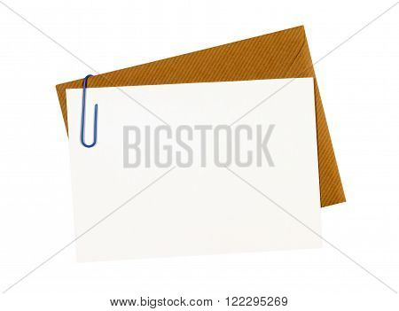 Brown manila envelope blank letter or message card paper clip copy space