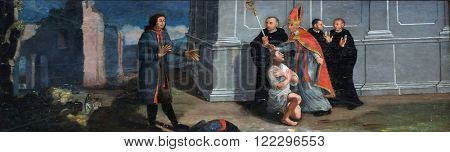 KOTARI, CROATIA - SEPTEMBER 16: St. Francis returns suit to his father, altarpiece in the church of Saint Leonard of Noblac in Kotari, Croatia on September 16, 2015.
