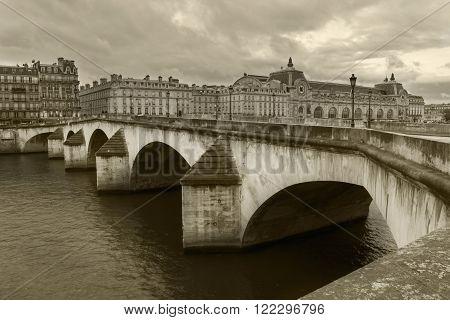 Pont de la Concorde one of the most famous old historic bridge in Paris France