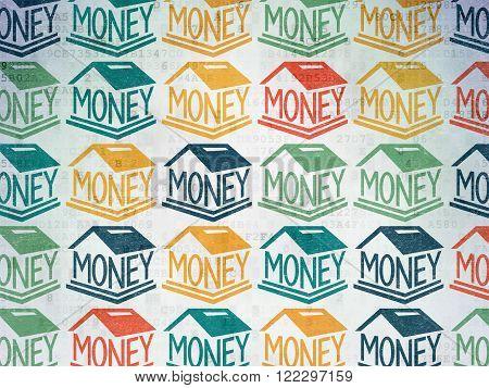 Money concept: Money Box icons on Digital Paper background