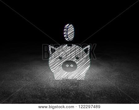 Banking concept: Money Box With Coin in grunge dark room