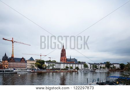 FRANKFURT, HESSE-February 12 : River view of Frankfurt am Main.Frankfurt is the largest city in the German state of Hesse and the fifth-largest city in Germany,February 12,2014 in Frankfurt, Germany.