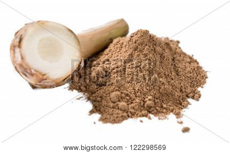 Portion of Galangal Powder isolated on white background